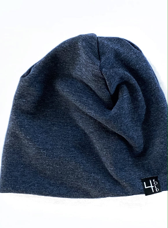 Sweater Knit Heathered Navy Slouchie Beanie