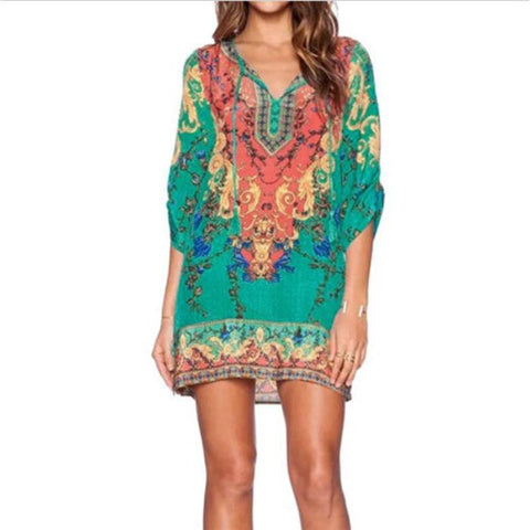 2016-Fashion-Women-Vintage-Ethnic-Dress-Brand-Baroque-Style-Floral-Print-Casual-Beach-Mini-Dress-Boho - Chic128