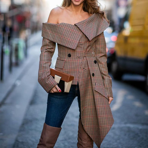 Fashion Sexy Off The Shoulder Plaid Long Sleeve Blouse - Chic128
