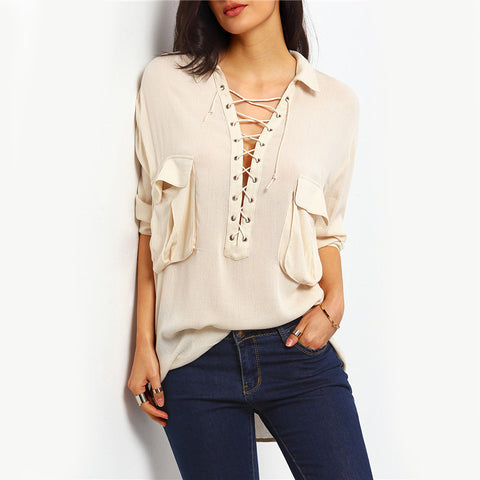 Apricot Long Sleeve Dual Pockets Lapel Lace Up Shirt Solid Casual Tops - Chic128