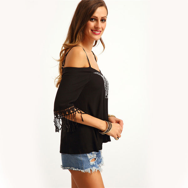 Black Cold Shoulder Loose Tops - Chic128