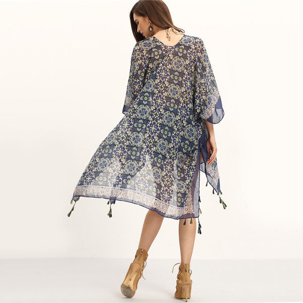 Blue Three Quarter Length Sleeve Tassel Trimmed Tribal Print Long Kimono - Chic128