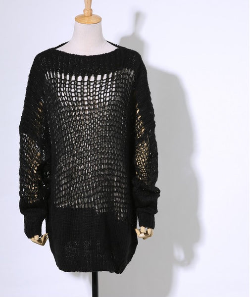 CHICING Runway Autumn Hollow Out Mesh Oversized Knitted Long Sweater - Chic128