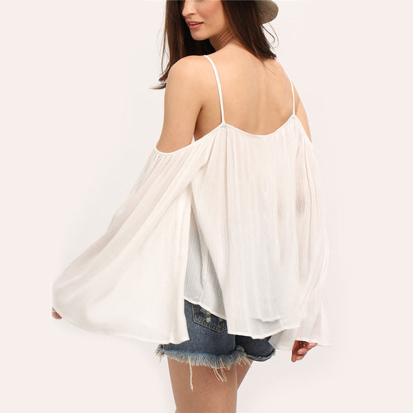 Casual Beige Cold Shoulder Long Bell Sleeve Loose Blouse - Chic128
