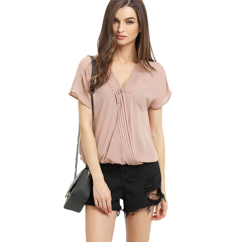 Casual Women's Dark Apricot Short Sleeve V Neck Pleated Blouse - Chic128