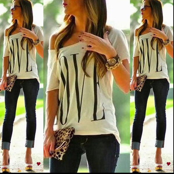 Casual off One Shoulder tee shirt - Chic128