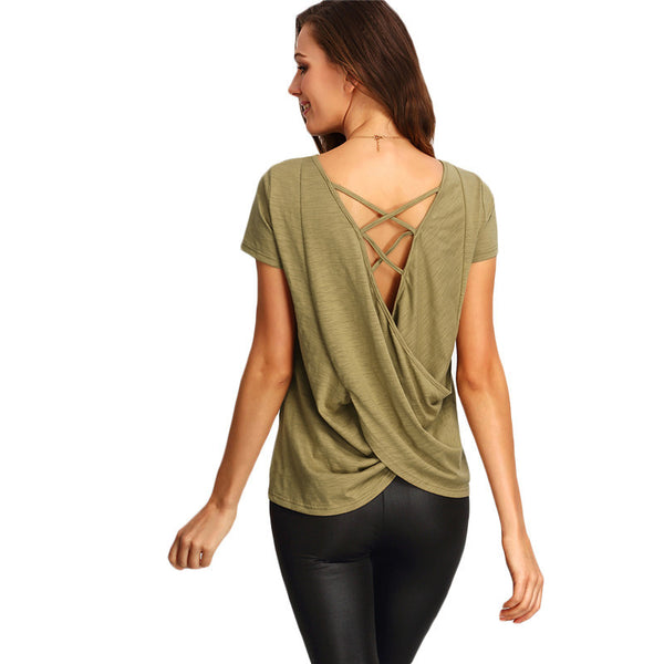 Coffee Short Sleeve Criss Cross Back Tee Shirt Fashion Tops - Chic128