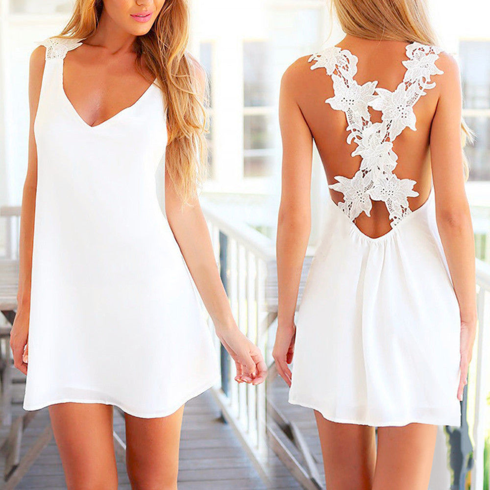 Elegant Sexy Mini White Dress Without Sleeve Beach Sun Dress Drop - Chic128