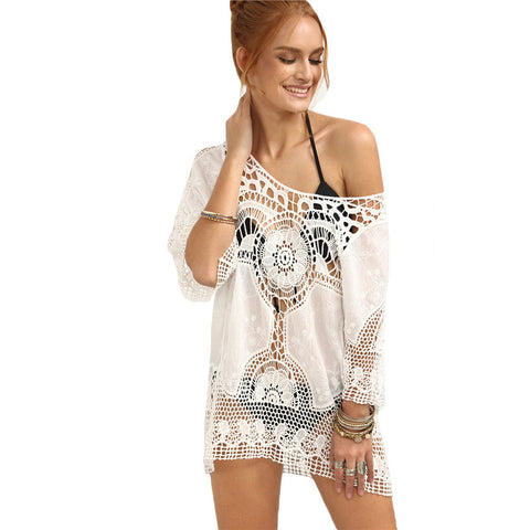 Fashion Hollow Out Crochet Insert Cover-Up Top - Chic128