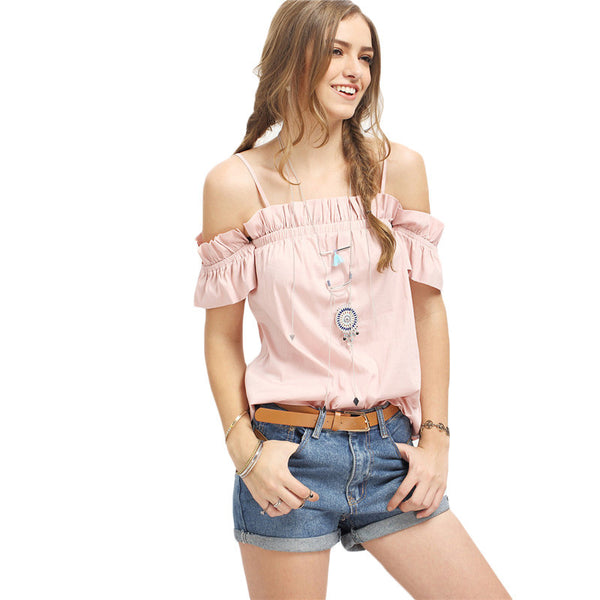Fashion Plain Pink Ruffle Short Sleeve Cold Shoulder Blouse - Chic128