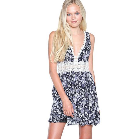 Floral Printed Sleeveless Boho Beach Cute Casual Party Dress - Chic128