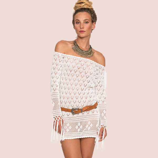 Apricot Off Shoulder Sexy Beach Blouses - Chic128