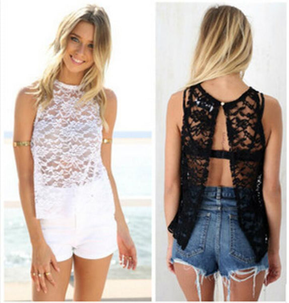 Embroidery Lace Crochet Women Lace Blouses