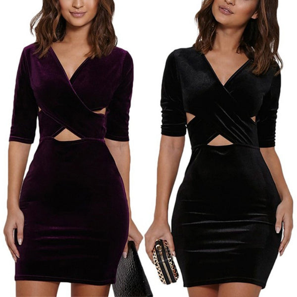 Sexy Hollow Out Bodycon Mini Dress - Chic128