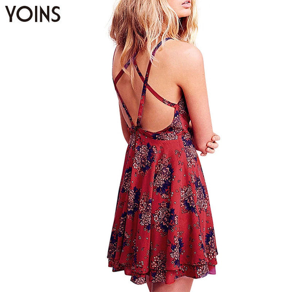 Sexy V-neck Floral Print Cami Dress - Chic128