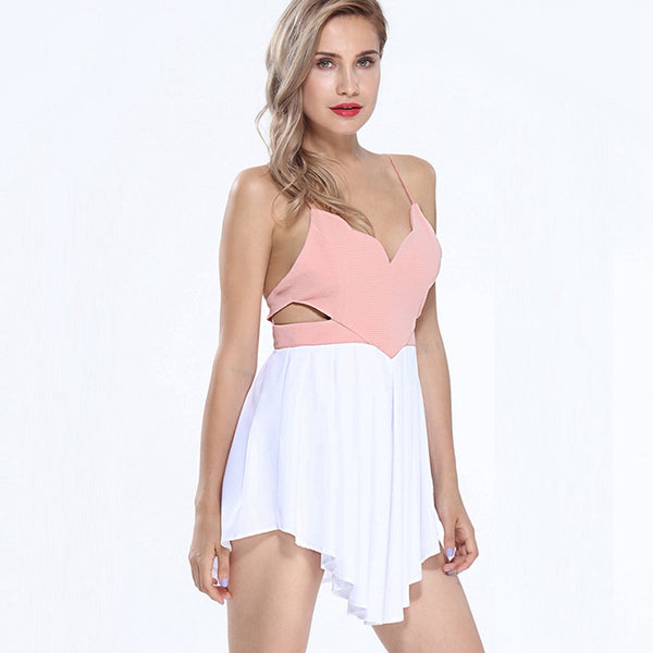 Sexy Plunging Neck Crisscross Back Cami Romper - Chic128