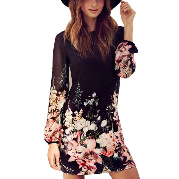 Round Collar Long Sleeve Back Zipper Floral Print Loose Chiffon Dress - Chic128