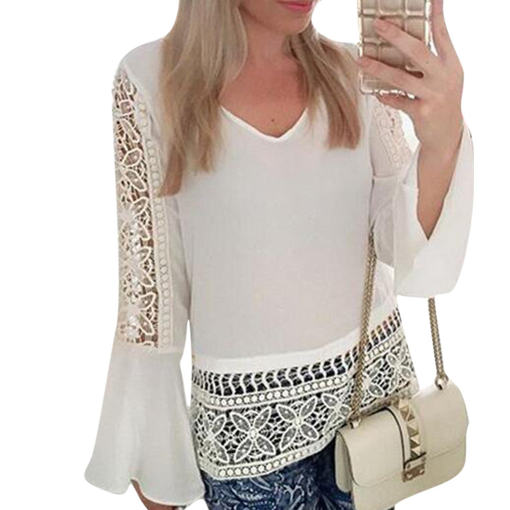 Women Sexy V Neck Flare Sleeve Lace Crochet - Chic128