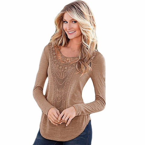 Long Sleeve Crochet Lace Shirt - Chic128