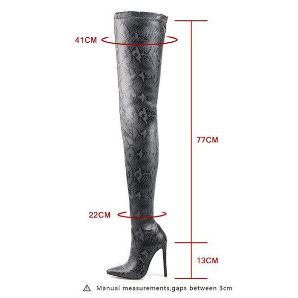 Thigh High Over the Knee Boots for Women Shoes Snakeskin Pointed Toe Super Thin High Heels Long Boots Bottine Femme - Chic128