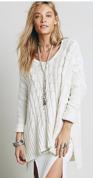 Long Sleeve Casual Loose Hi-Lo Pullover Long Knitted Sweater - Chic128