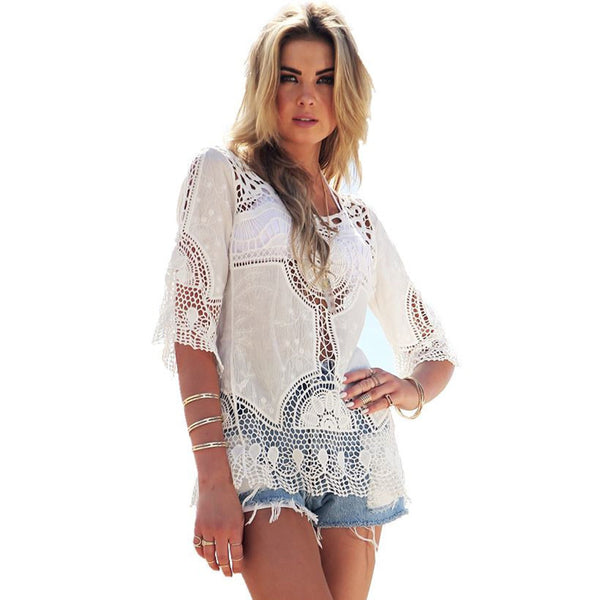 Hot Selling Women Lace Crochet Beach Cover Ups Blouse - Chic128