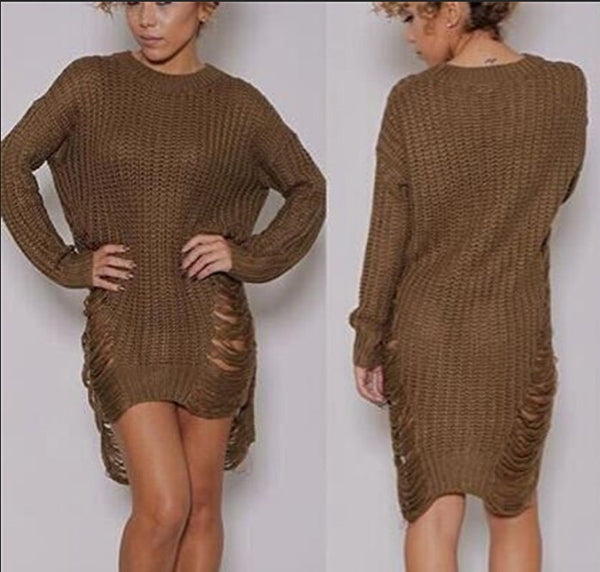 Women Ripped Knitted Sweaters - Chic128