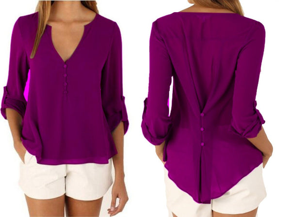 Sexy V Neck Long Sleeve Shirts Casual Chiffon Blouses - Chic128