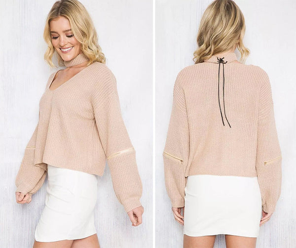 Elegant Casual V Neck Knitted Women Sweaters