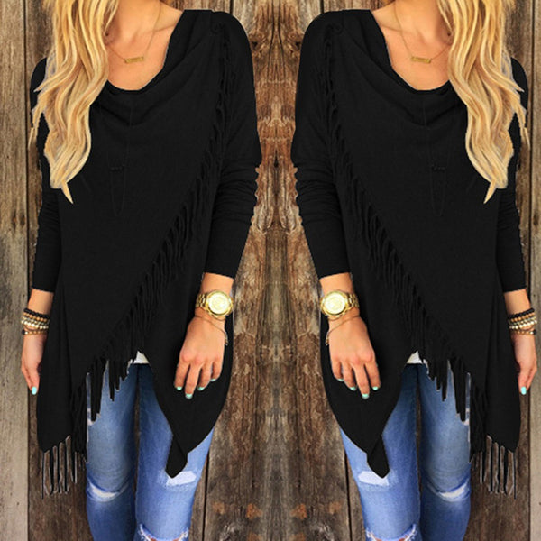 Long Sleeve Irregular Hem Tassels Cardigan - Chic128