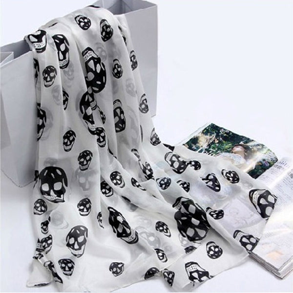 Pretty Chiffon Skull Scarves for Women - Chic128
