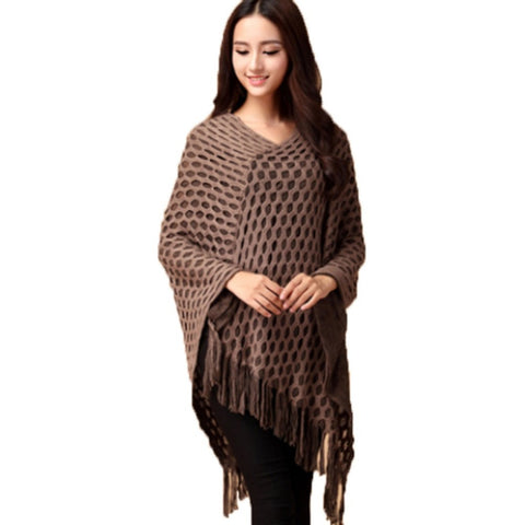 Women Tassels Hem Batwing Sleeve Shawl Cape