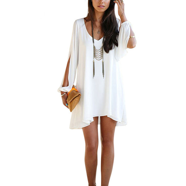 Fashion White Loose Chiffon Dress - Chic128