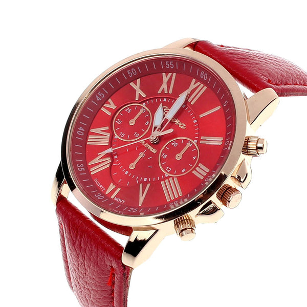Faux Leather Beautiful Roman Numeral Watch