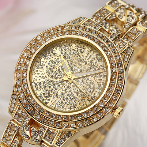 Women Gold Silver Rhinestone Crystal Luxury Wristwatch - Chic128