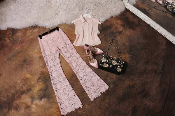 Women Short Top and Wide Leg Pants Sets - Chic128