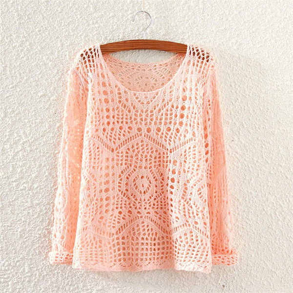 Solid Color O-Neck Knitted Sweater - Chic128