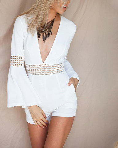 Sexy Women Plunge V-neck Flare Sleeves White Hollow Out Jumpsuit