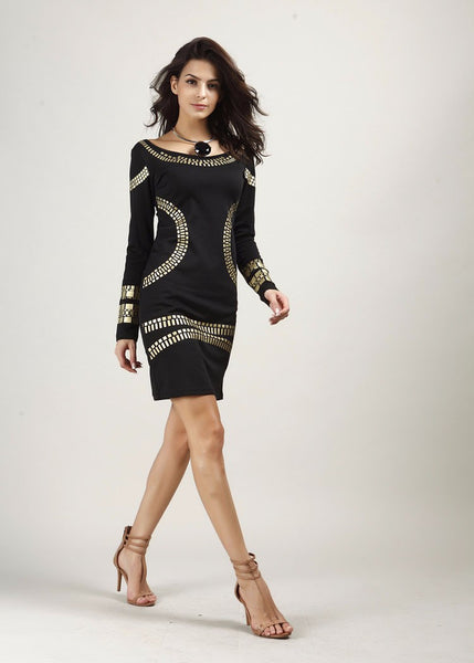 Women Pencil Dress with Bronzing Accessories - Chic128
