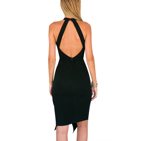 Open Back Split Hem Black Midi Dress - Chic128