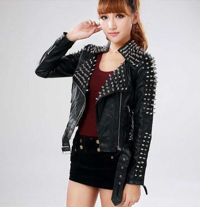 Personality spring motorcycle PU leather jacket - Chic128