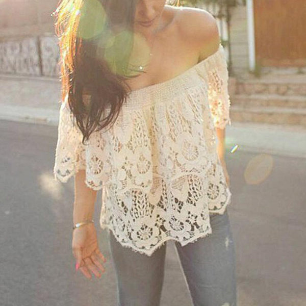 Boho Elegant Off Shoulder White Lace Crochet - Chic128