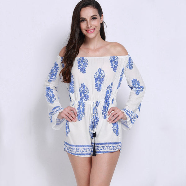 BOHO Vintage Leaf Print Off The Shoulder Playsuit - Chic128