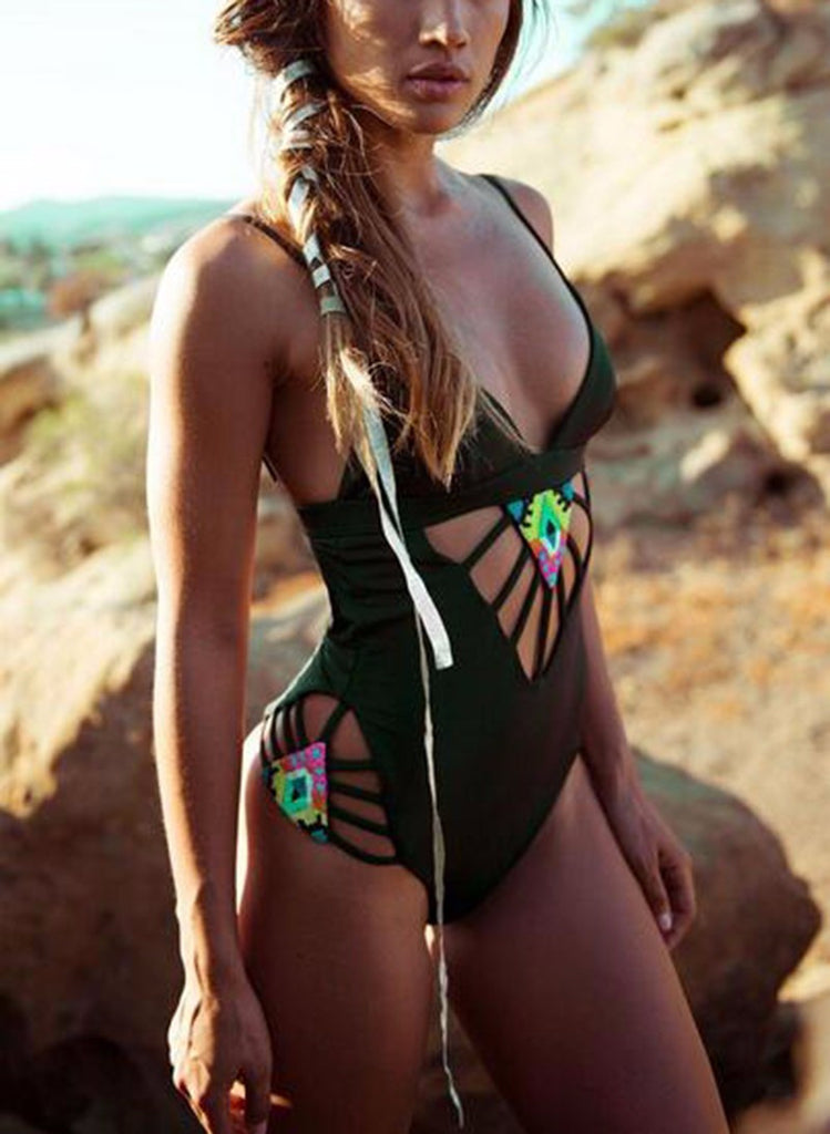 New Design One Piece Swimsuit Totem Printed Hollow Out Swimwear - Chic128
