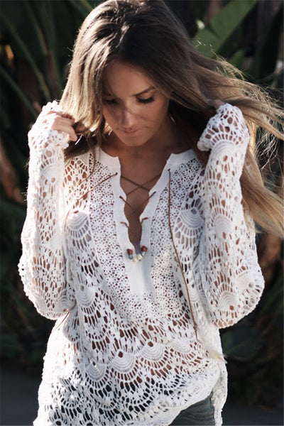 Long Sleeve hollow out Lace Blouses - Chic128