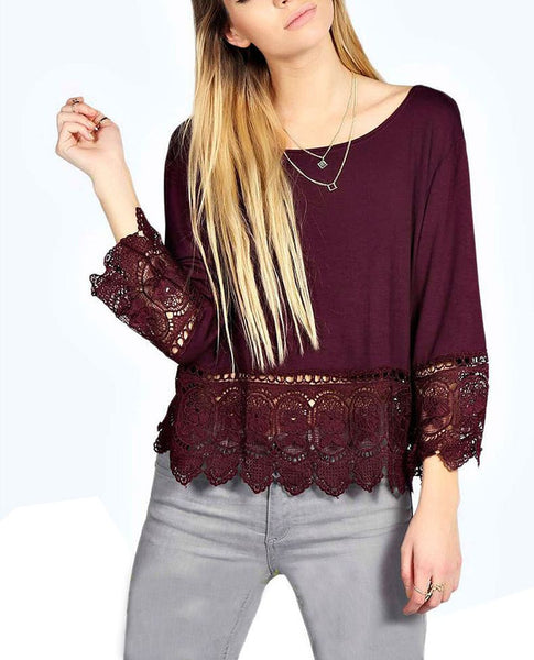 Women Lace Crochet Loose Long Sleeve Blouse Tops