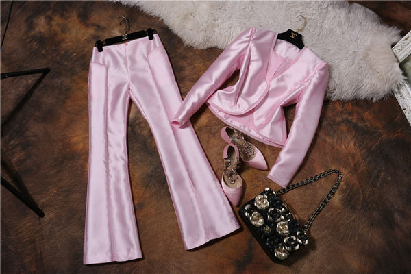 V-neck OL Solid Color Long Sleeve Jacket and Slim Waist Long Trousers - Chic128