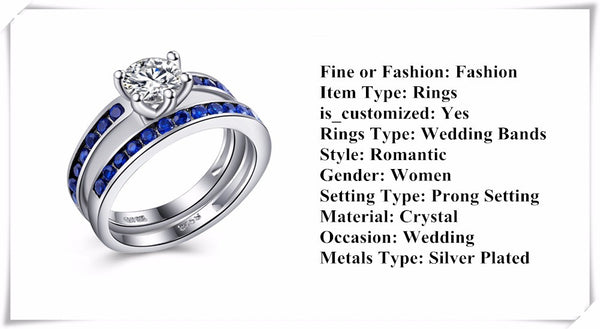 Silver Plated Sapphire Crystal Jewelry Engagement Bridal Sets Rings - Chic128