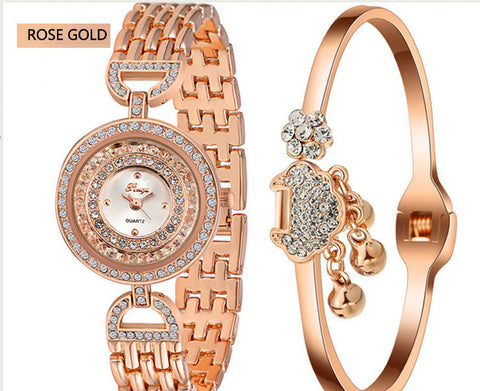 Women Watches Oval Gold Silver Bracelet