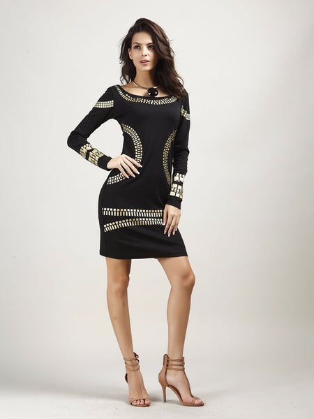 Women Pencil Dress with Bronzing Accessories